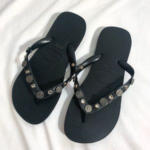 Havianas Black Coin Flip Flop Sandals